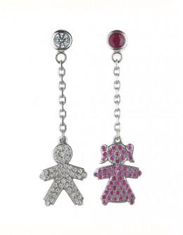Kids with boy and girl pendants earrings
