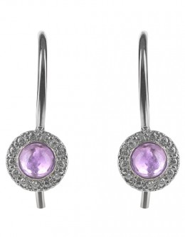 Earrings with amethyst and diamonds FOR GIRLS