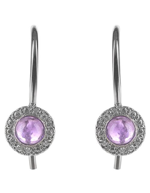 Серьги с аметистом и бриллиантами для девочек