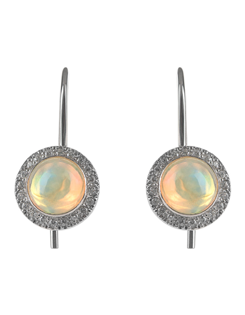 Earrings with opal and diamonds for girls