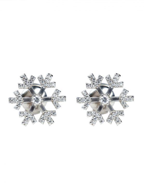 Серьги «Снежинки» из белого золота