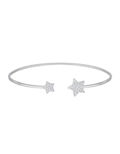"""Жесткий браслет """"Звёзды"""" с белыми бриллиантами"""