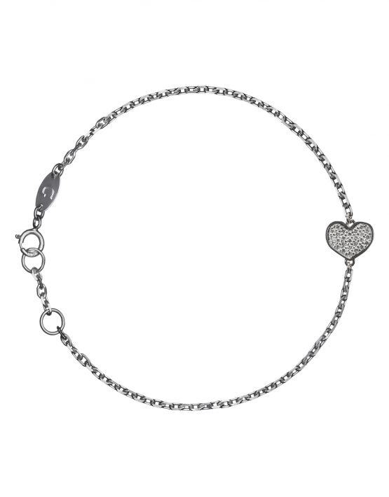 "Браслет ""Сердце"" с белыми бриллиантами"