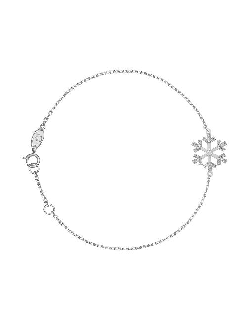 Браслет «Снежинка» с крупным белым бриллиантом в центре