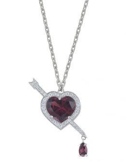 """HEART"" NECKLACE WITH ALMANDINES AND WHITE DIAMONDS"