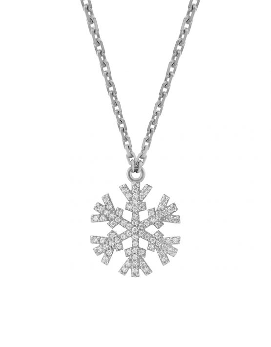 SNOWFLAKES NECKLACE WITH WHITE DIAMONDS