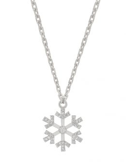 SNOWFLAKES NECKLACE WITH A LARGE WHITE DIAMOND IN THE CENTRE