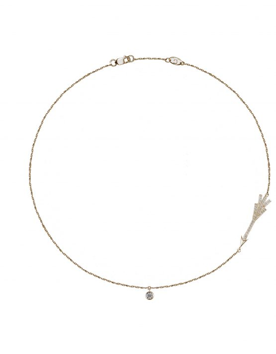 """Arrow"" necklace with white diamonds"